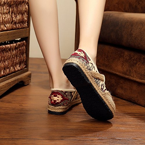 Womens Flat Loafers National Style Embroidered Linen Slip on Walking Shoes Red 75EeMml96n