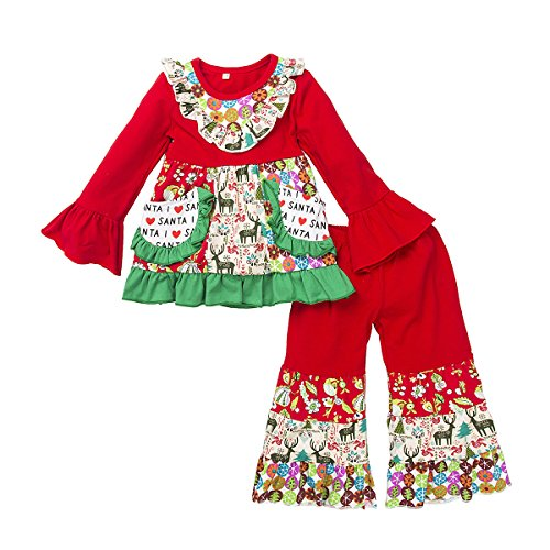 belababy Toddler Girls Red Christmas Pajamas with Colorful Prints, 4t