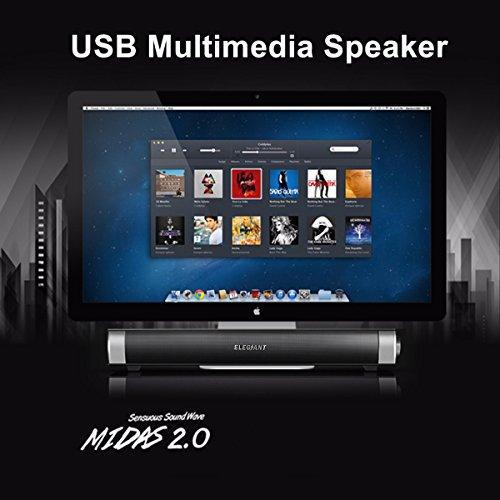 ELEGIANT USB Powered Sound Bar Speakers for Computer Desktop Laptop PC, Black