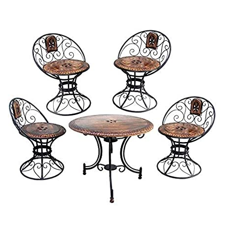Green Wood Mango Wood and Iron Carved Decorative Folding Table with 4 Chairs Set