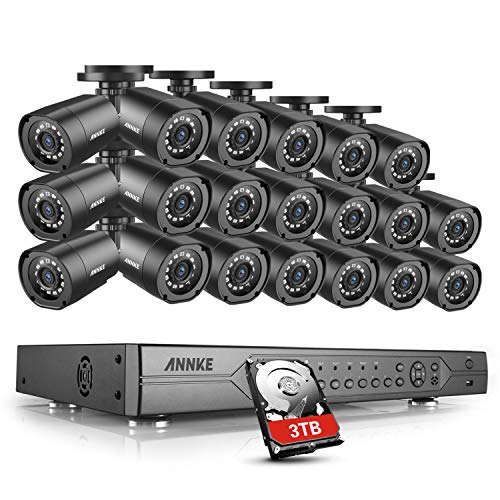- ANNKE 1080P AHD Security Camera System, 32 Channel Surveillance Video Recorder with (20) Indoor/Outdoor IP66 Weatherproof Camera, 100ft IR Night Vision, Motion Detection, 3TB Hard Drive Included