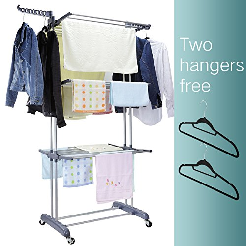3 Tier Rolling Clothes Drying Rack Clothes Garment Rack Laun