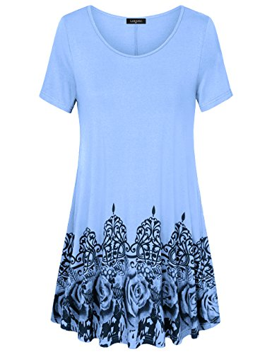 Laksmi Womens Printed Flow Tunic Shirts, Short Sleeve Scoop Neck A Line Loose Fit Casual Top