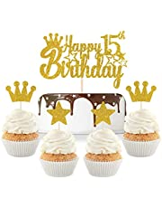 Gold Glitter Happy 15th Birthday Cake Topper with Crown Star Cupcake Toppers/Cheers to 15 Years/Teenagers 15th Birthday Party Decorations Supplies 5pcs