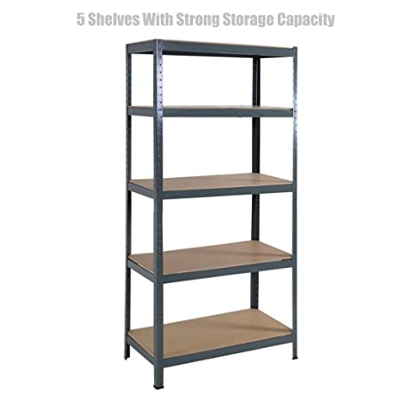 5 Level Heavy Duty Shelf School Office Home Garage Steel Metal Storage Rack Space-Saving  sc 1 st  Amazon.com & Amazon.com: 5 Level Heavy Duty Shelf School Office Home Garage Steel ...