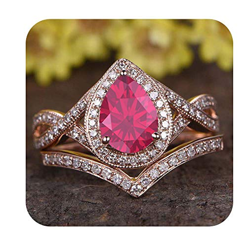 (tusakha 6x8mm Pear Cut Created Pink Ruby & Diamond 18k Rose Gold Over .925 Sterling Silver Infinity Wedding Bridal Halo Ring Cuvred Band Set for Women's for Women's)