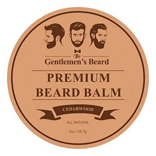 The Gentlemens Premium Cedarwood Beard Balm - Leave-in Conditioner & Softener - All Natural - Styles, Strengthens, Thickens & Softens Promoting Healthier Beard & Mustache Growth