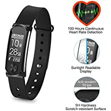 Q-Band Q-68HR Accurate Health & Fitness Tracker Watch, 100 Hours Heart Rate Monitor, Waterproof Bluetooth Activity Tracker, Sunlight Readable Scratch-Resistant Big Screen, Pedometer Band