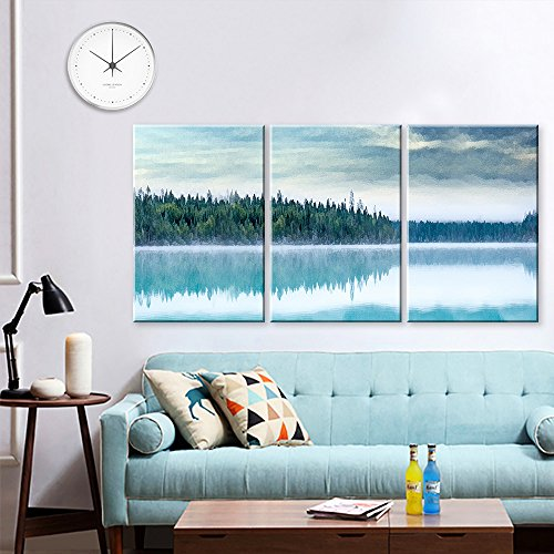 3 Panel Watercolor Painting Style Forest with Reflection on the Lake x 3 Panels
