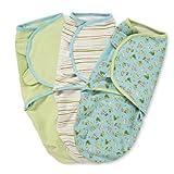 Summer Infant SwaddleMe Adjustable Infant Wrap, Dino Peek/Stripe/Sage, Boy, Small/Medium