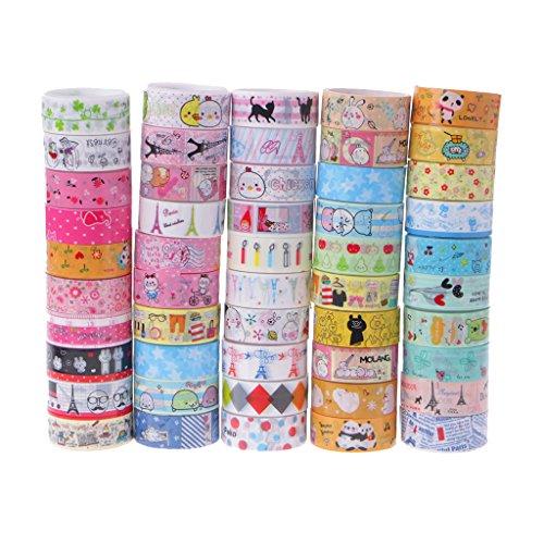Stationary Tape - Yangfr 10 Decorative Masking Adhesive Tape Kawaii 4M Tapes Mix Designs Cartoon Adhesive Tape Set for Scrapbooking/Craft