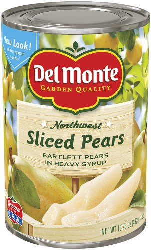 Del Monte Sliced Pears Bartlett Pears in Heavy Syrup, 15.25-Ounce (Pack of 8) by Del Monte