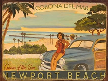 Corona Del Mar Metal Sign, Southern California Beach, Rick Sharp Art, Vintage Ocean, Surf Decor