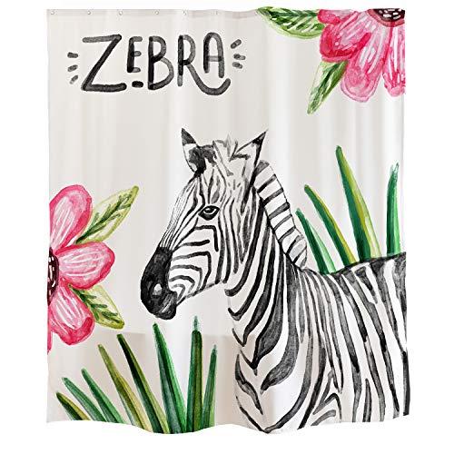 Orange Design Animal Watercolor Zebra Shower Curtain Hooks 71''x71'' Tropical Leaves Pink Flowers Black White, Mildew Resistant Fabric Kids Home Bathroom Decor Accessories