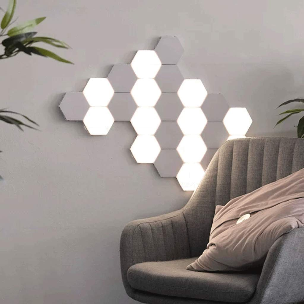 Junphsion Quantum Lamp Private Design on The Wall, Creative DIY Geometry Smart Assembly Wall Lamp Bedroom, Hexagon Wall Light Room Lighting Decoration,5Pcs