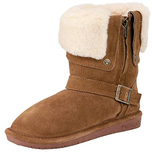 BEARPAW Women's Madison Snow Boots, Brown Sheepskin, 7 (Ladies Sheepskin Boots)