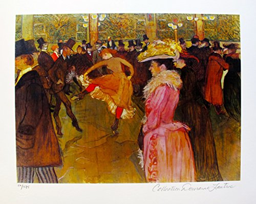 Estate Rouge - Artwork by Henri Toulouse Lautrec Cabaret Dance At The Moulin Rouge Estate Signed Small Giclee Print. After the Original Painting or Drawing. Paper 10 Inches X 13 Inches