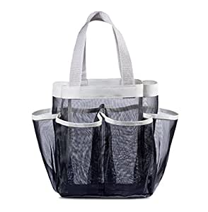 7 Pocket Shower Caddy Tote, Black - Keep your shower essentials within easy reach. Shower caddies are perfect for college dorms, gym, shower, swimming and travel. Mesh allows water to drain easily.