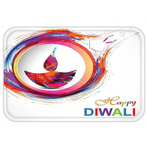 Fire And Ice Themed Costume (VROSELV Custom Door MatDiwali Decor Rainbow Themed Colored Modern Image of Diwali Celebration Candle Fire Print Multicolored)