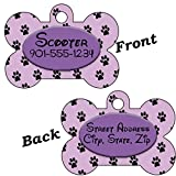 Disney Themed Double Sided Pet Id Tag for Dogs & Cats Personalized with 4 Lines of Text (Purple)