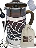Cofina French Press Coffee Maker - 34 oz Large French Coffee Press Bundle | with Extra Thick Borosilicate Glass Carafe | Tea Infuser & Tea Pot | Use as Cold Brew Coffee Maker & Iced Tea Maker