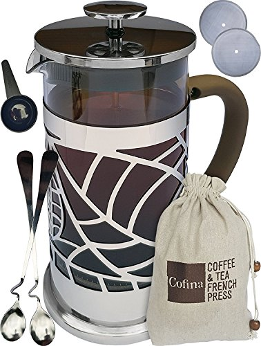 Information Decorative Floral Gift Box - Cofina French Press Coffee Maker - 34 oz French Coffee Press Bundle | with Extra Thick Borosilicate Glass Carafe | 4 Stage Stainless Steel Filtration | Perfect as Cold Brew Coffee Maker & Tea Maker