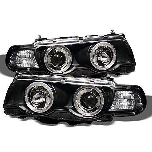 ACANII - For [Halogen Model] 1999-2001 BMW E38 7-Series LED Halo Black Housing Projector Headlight Headlamp Assembly