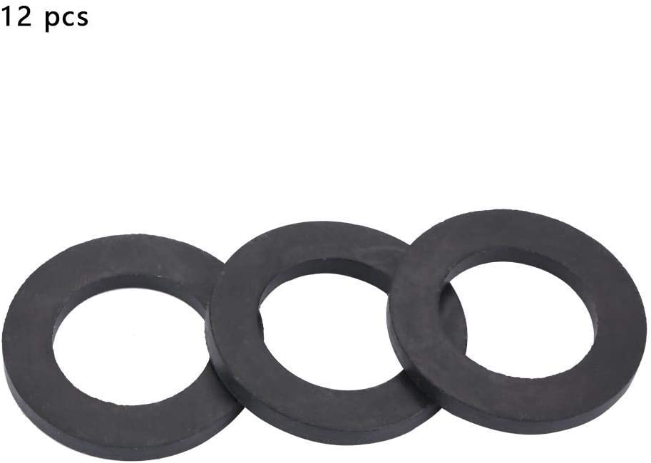 100 Pieces Rubber Washers Ring Seal 12 mm for Faucet Home Kitchen Black