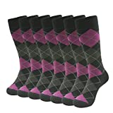 SUTTOS Business Suit Dress Socks Men, Office Business Men's 7 Pairs Casual Custom Elite Crazy Fashion Pink/Black Argyle Diamond Sharp Dashed Mid Calf Long Tube Winter Crew Dress Socks, One size 6-10