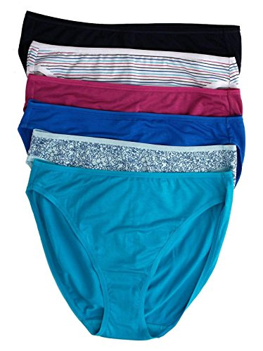 Jezebel by Felina   So Smooth Hi Cut Panty   6-Pack   Full Coverage   Stretch (Prints Combo, X-Large)