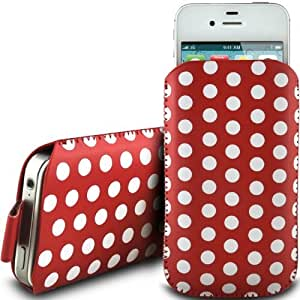 RED POLKA DOT PREMIUM PU LEATHER PULL FLIP TAB CASE COVER POUCH FOR LG KS365 BY N4U ACCESSORIES