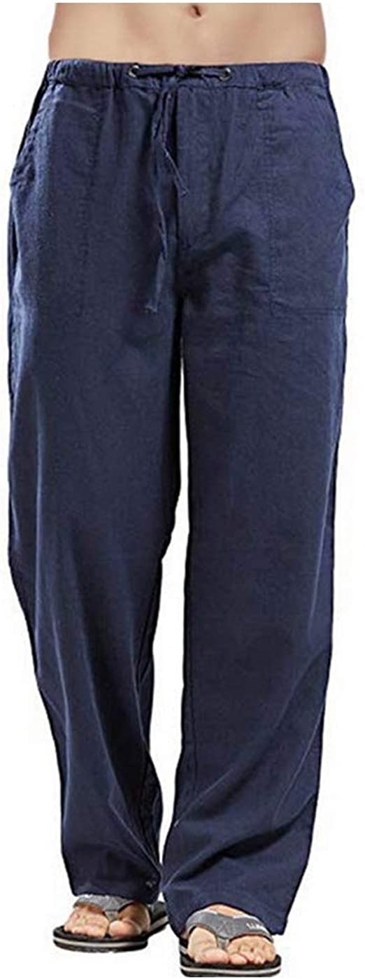 VITryst Mens Cotton Linen Mid Rise Relaxed-Fit Pockets Plus-Size Pure Trousers