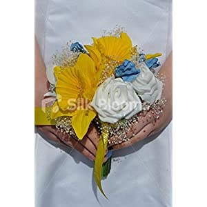 Springtime Artificial Yellow Daffodils, White Rose and Blue Sweetpea Bridesmaid Posy with Gypsophila 35