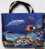 Fine Art Small Tote Travel Bag--Coral Reef Fish Sea Ocean Theme