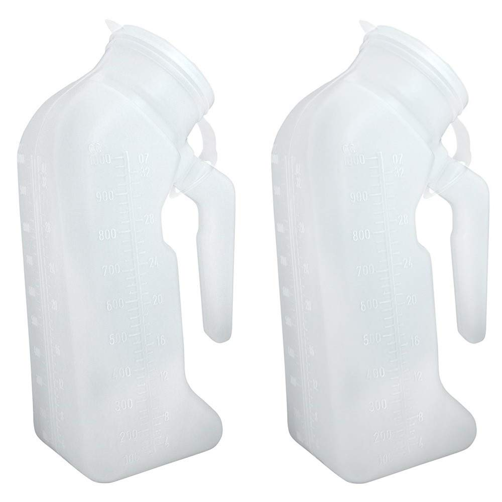 Deluxe Male Urinal Plastic Bottle 1000 ml with Lid for Hospital, Travel, Camping, Car Road Trip (Pack of 2) by Comfort Axis