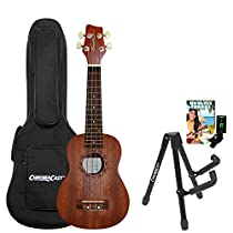 Sawtooth ST-UKE-MS-KIT-2 Mahogany Soprano Ukulele with Quick Start Guide, Stand, Gig Bag & Tuner