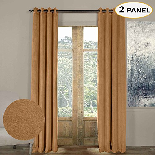100% Blackout Solid Curtains Grommet Top Thermal Curtains Window Drapes For Bedroom Living Room,50