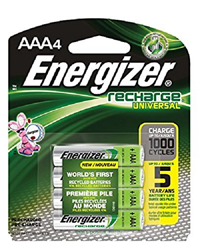 Energizer Rechargeable AAA Batteries, NiMH, 700 mAh, Pre-Charged, 4 count (Recharge ()