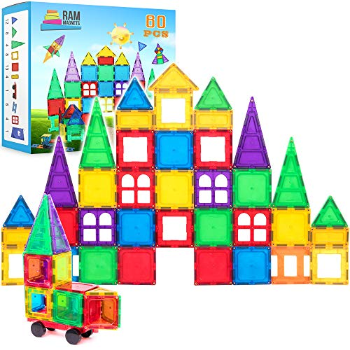 Magnetic Building Blocks 60 Piece Set, Strongest Shape Tiles, Toy Building Sets, Magnets for Kids, Suitable for Three Year Olds and Up, 3D & 2D Logical Reasoning Game, Educational Children's Block Toy]()