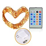 LED String Lights, CRELAND 33 ft 100 LEDs USB Powered Flexible Starry Copper Wire Lights with Remote Control, waterproof garden lighting for indoor outdoor Home Party Wedding Tree, warm white