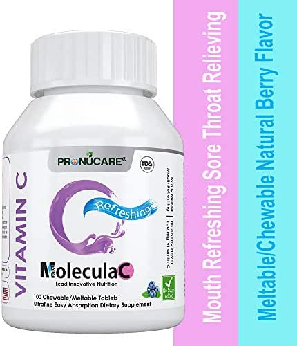 PRONUCARE Mouth Refreshing Sore Throat Relieving Vitamin C Meltable/Chewable Natural Blueberry Flavor Ultrafine Easy Oral Absorption 100mg Melts Multiple Tablets Daily, 100CT