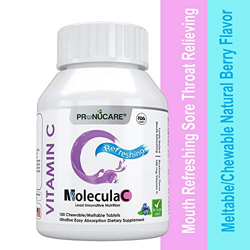 Mouth Refreshing Sore Throat Relieving Vitamin C Meltable/Chewable Natural Blueberry Flavor PRONUCARE Ultrafine Easy Oral Absorption 100mg Melts Multiple Tablets Daily, 100CT