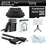 32GB Accessories Kit For Sony HDR-CX240, HDR-PJ275, HDR-AS30V, HDR-AS15, HDR-CX440, HDR-CX405, HDR-PJ440, FDR-X1000V, AS200V Video Camera Includes 32GB Micro SD Memory Card + Replacement (1600maH) NP-BX1 Battery + AC/DC Charger + Micro HDMI Cable + Case +