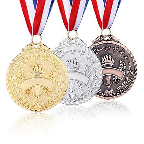Caydo 3 Pieces Metal Winner Award Medals with Neck Ribbon, 2.6-Inch