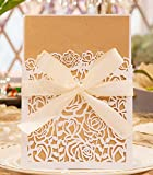 50pcs Elegant Wedding Invitation Cards Laser Cut Rose Hollow Pattern Cover with Printable Kraft Cardstock and Robbin Kit for Bridal Baby Shower Engagement Birthday Party Graduation