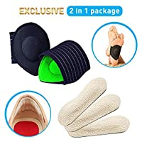 Cushioned Arch Supports & Leather Heel Grips PadRelief 2 in 1 Foot Pain Relief Orthopedic Insole Plantar Fasciitis Relieve Rubbing Shock Absorber Foot Petals Unisex One Size Fits All.