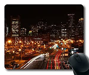 Design Boston Night Traffic Mouse Pad Desktop Laptop Mousepads Comfortable Office Mouse Pad Mat Cute Gaming Mouse Pad by icecream design
