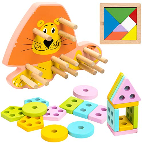 INNOCHEER Toddler Wooden Puzzles, Shape Color Sorters with Tangram, Educational Geometric Board Block Stack Sort Toys for Birthday Chirsmas Gift