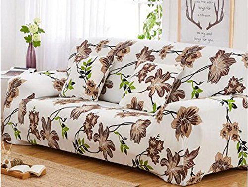 YJ Bear 1 PC European Spring Brown Flower Pattern Polyester Spandex Furniture Cover Slip Resistant Strapless Stretch Chair Loveseat Sofa Protector Shield White 57.09