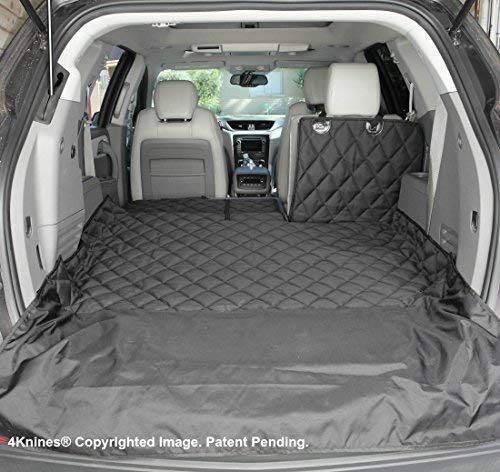 4Knines SUV Cargo Liner for Fold Down Seats - Heavy Duty - 60/40 Split and armrest Pass-Through fold Down Compatible - Black Large - USA Based -
